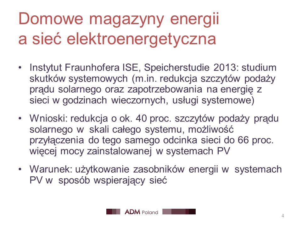 Domowe magazyny energii a sieć elektroenergetyczna Instytut Fraunhofera ISE, Speicherstudie 2013: studium skutków systemowych (m.in. redukcja szczytów