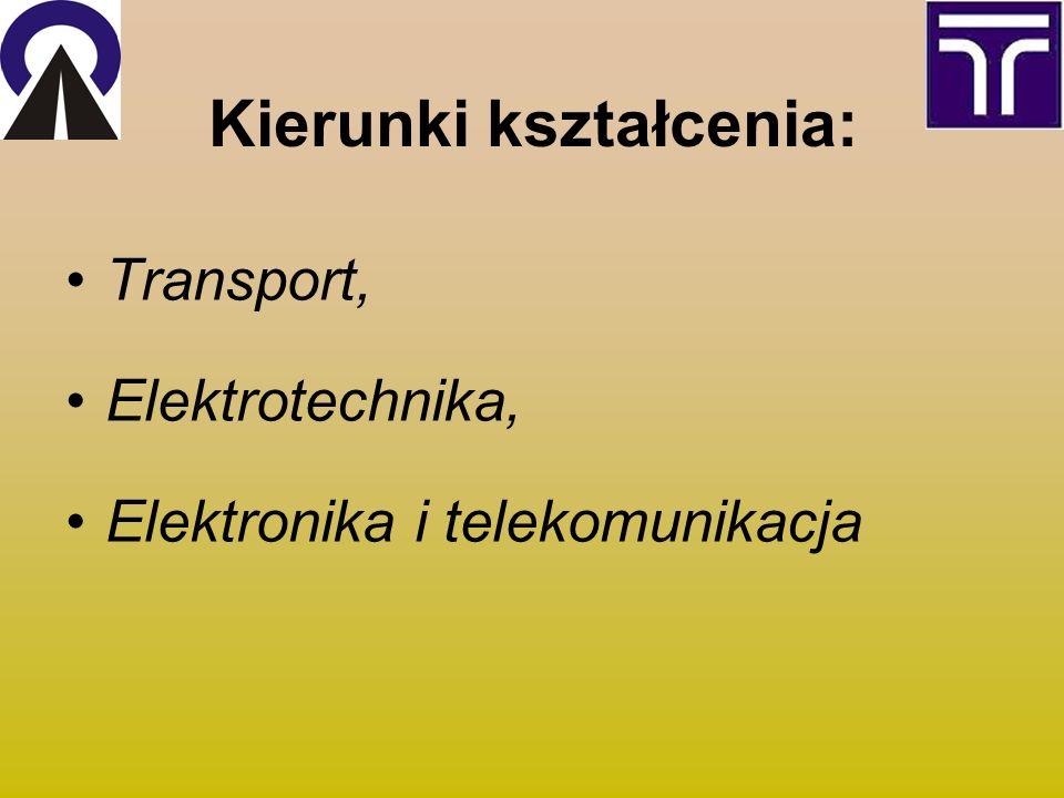 Kierunki kształcenia: Transport, Elektrotechnika, Elektronika i telekomunikacja