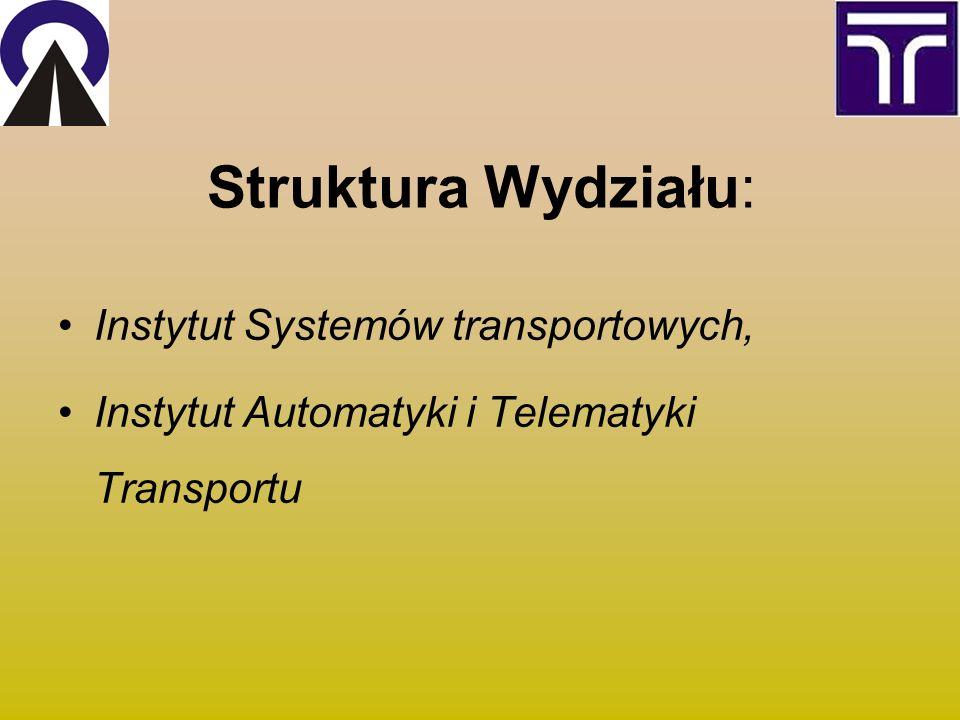 Struktura Wydziału: Instytut Systemów transportowych, Instytut Automatyki i Telematyki Transportu