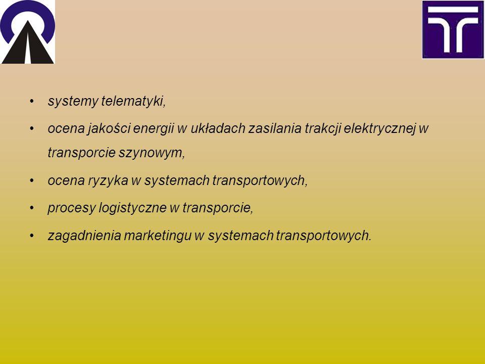 systemy telematyki, ocena jakości energii w układach zasilania trakcji elektrycznej w transporcie szynowym, ocena ryzyka w systemach transportowych, procesy logistyczne w transporcie, zagadnienia marketingu w systemach transportowych.