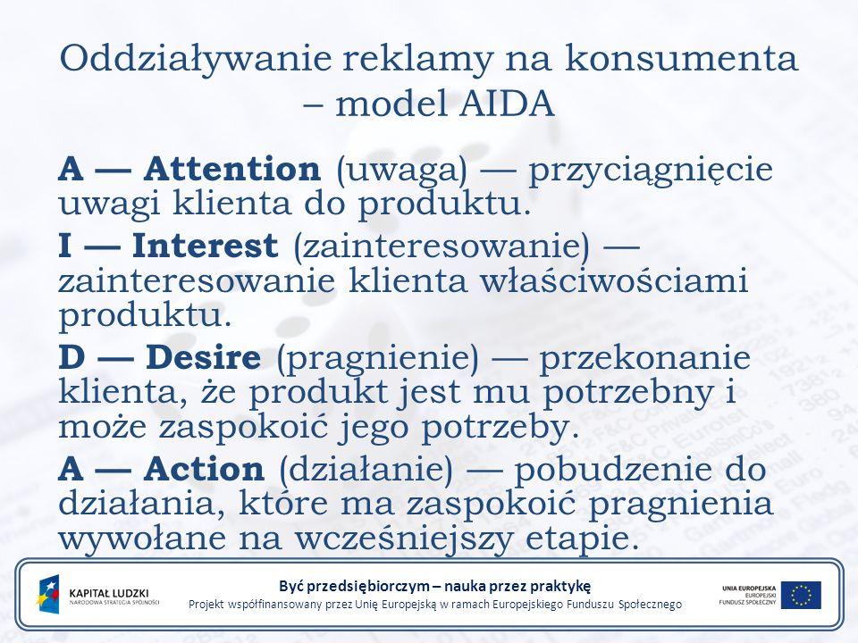 Oddziaływanie reklamy na konsumenta – model AIDA A — Attention (uwaga) — przyciągnięcie uwagi klienta do produktu.
