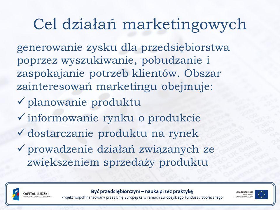 Cel działań marketingowych generowanie zysku dla przedsiębiorstwa poprzez wyszukiwanie, pobudzanie i zaspokajanie potrzeb klientów.