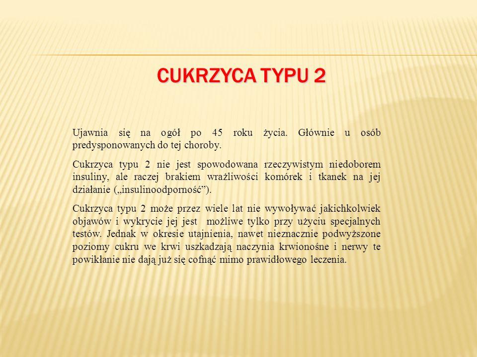 CUKRZYCA TYPU 2 Ujawnia się na ogół po 45 roku życia.