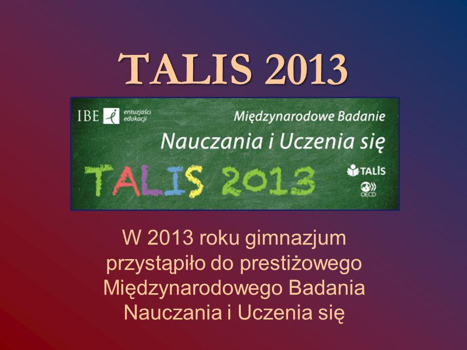 TALIS 2013 W 2013 roku gimnazjum przystąpiło do prestiżowego Międzynarodowego Badania Nauczania i Uczenia się