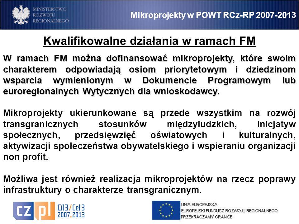 11 Mikroprojekty w POWT RCz-RP 2007-2013 Kwalifikowalne działania w ramach FM W ramach FM można dofinansować mikroprojekty, które swoim charakterem odpowiadają osiom priorytetowym i dziedzinom wsparcia wymienionym w Dokumencie Programowym lub euroregionalnych Wytycznych dla wnioskodawcy.