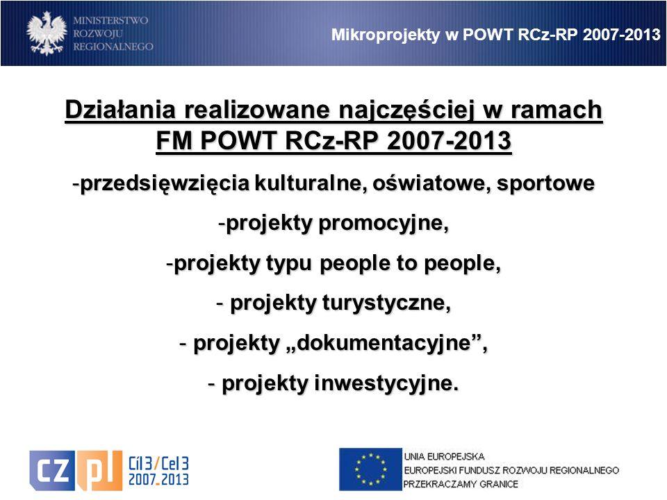 """12 Działania realizowane najczęściej w ramach FM POWT RCz-RP 2007-2013 -przedsięwzięcia kulturalne, oświatowe, sportowe -projekty promocyjne, -projekty typu people to people, - projekty turystyczne, - projekty """"dokumentacyjne , - projekty inwestycyjne."""