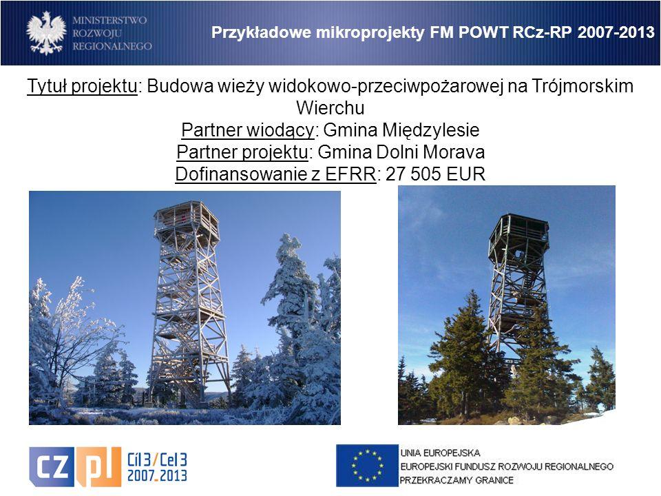 13 Przykładowe mikroprojekty FM POWT RCz-RP 2007-2013 Tytuł projektu: Budowa wieży widokowo-przeciwpożarowej na Trójmorskim Wierchu Partner wiodący: Gmina Międzylesie Partner projektu: Gmina Dolni Morava Dofinansowanie z EFRR: 27 505 EUR