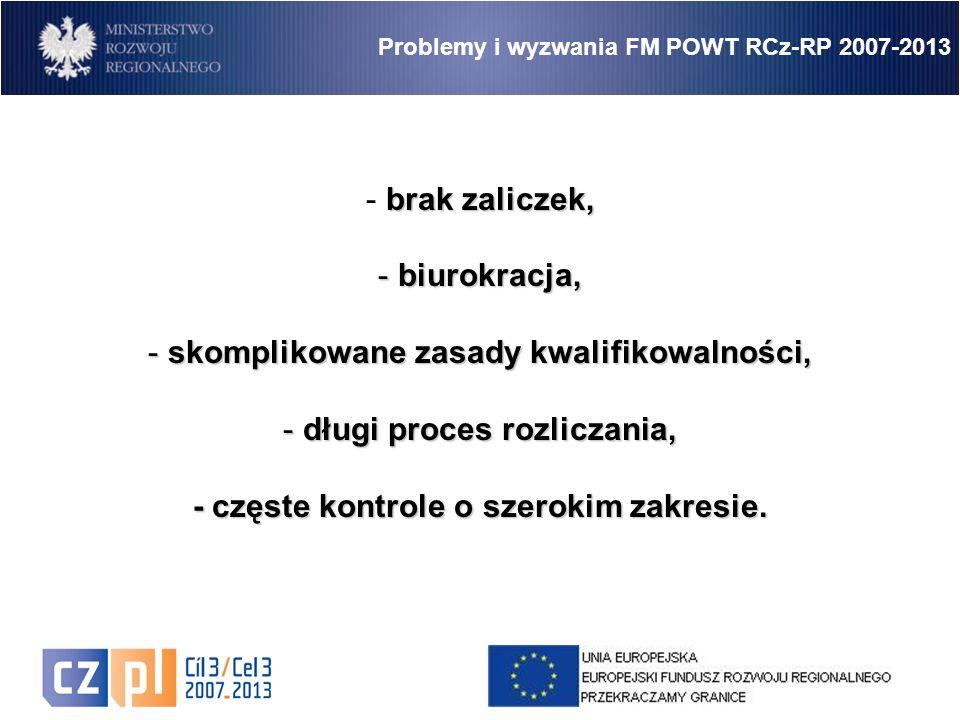 16 Problemy i wyzwania FM POWT RCz-RP 2007-2013 brak zaliczek, - brak zaliczek, - biurokracja, - skomplikowane zasady kwalifikowalności, - długi proces rozliczania, - częste kontrole o szerokim zakresie.