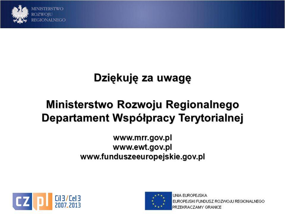 17 Dziękuję za uwagę Ministerstwo Rozwoju Regionalnego Departament Współpracy Terytorialnej www.mrr.gov.pl www.ewt.gov.pl www.funduszeeuropejskie.gov.pl