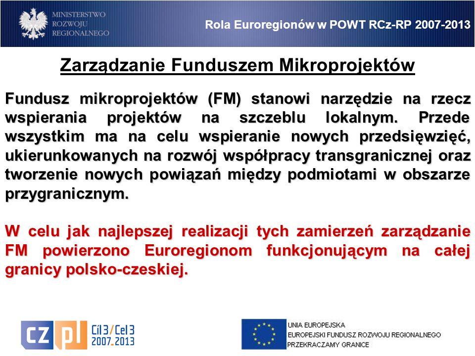 5 Rola Euroregionów w POWT RCz-RP 2007-2013 Zarządzanie Funduszem Mikroprojektów Fundusz mikroprojektów (FM) stanowi narzędzie na rzecz wspierania projektów na szczeblu lokalnym.