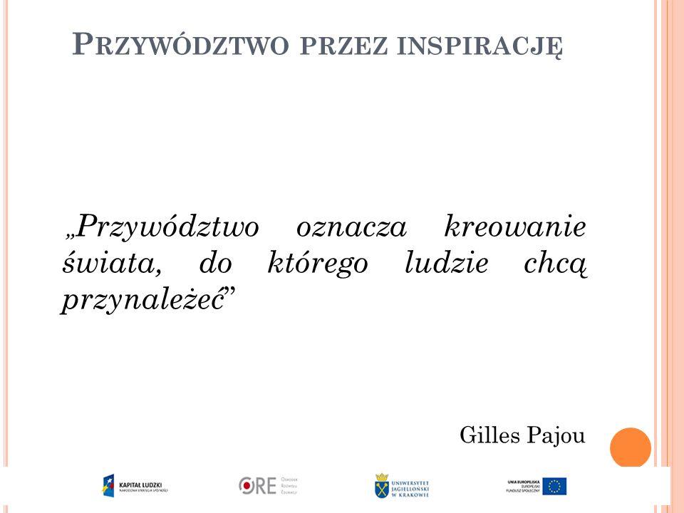 """P RZYWÓDZTWO PRZEZ INSPIRACJĘ """" Przywództwo oznacza kreowanie świata, do którego ludzie chcą przynależeć Gilles Pajou"""