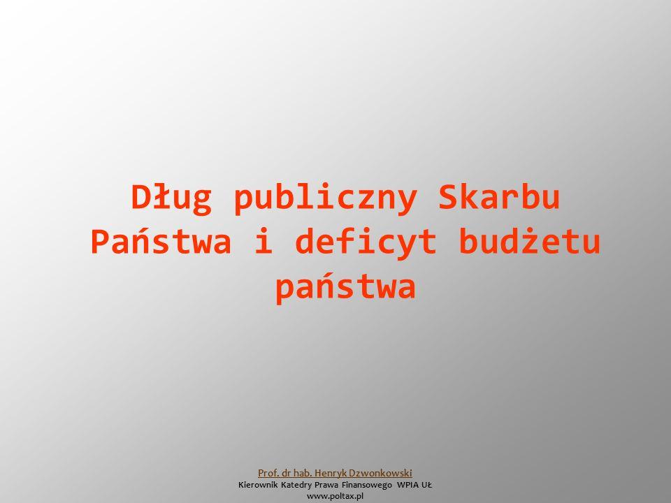 Dług publiczny Skarbu Państwa i deficyt budżetu państwa Prof.