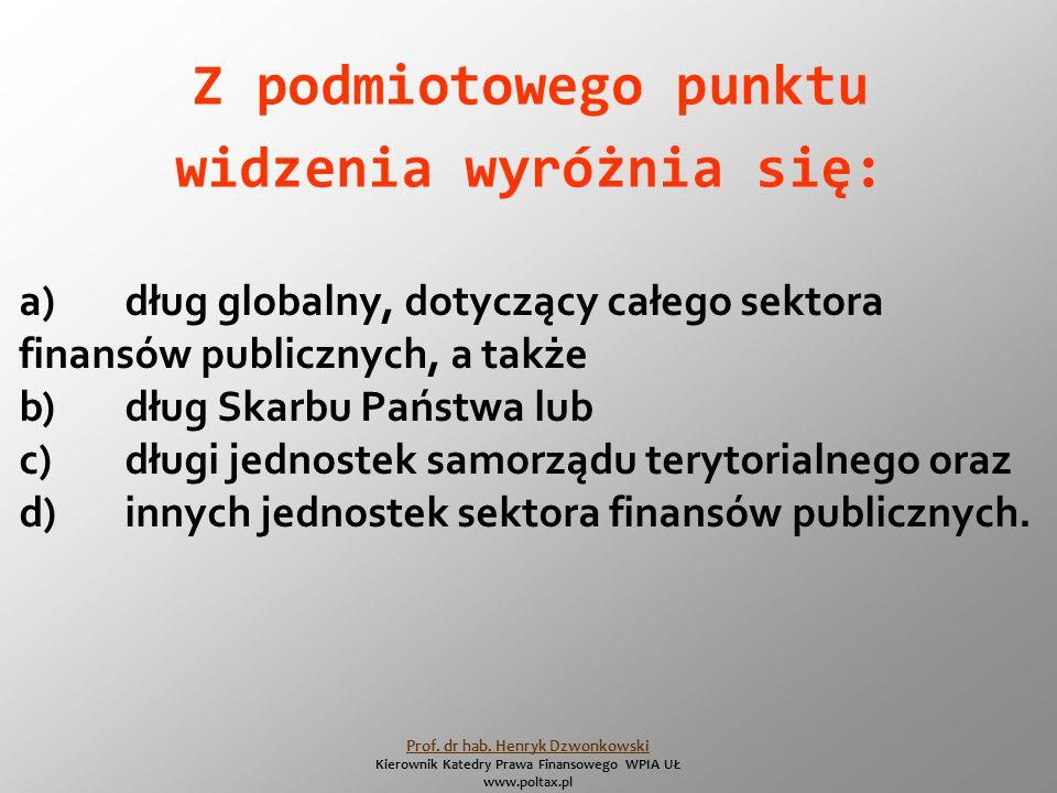 Z podmiotowego punktu widzenia wyróżnia się: a)dług globalny, dotyczący całego sektora finansów publicznych, a także b)dług Skarbu Państwa lub c)długi jednostek samorządu terytorialnego oraz d)innych jednostek sektora finansów publicznych.