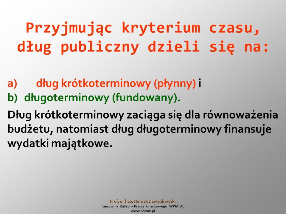 Przyjmując kryterium czasu, dług publiczny dzieli się na: a)dług krótkoterminowy (płynny) i b) długoterminowy (fundowany).