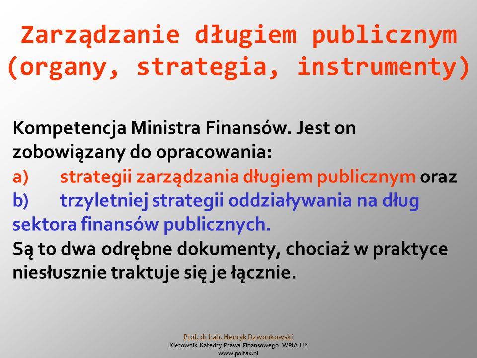 Zarządzanie długiem publicznym (organy, strategia, instrumenty) Kompetencja Ministra Finansów.