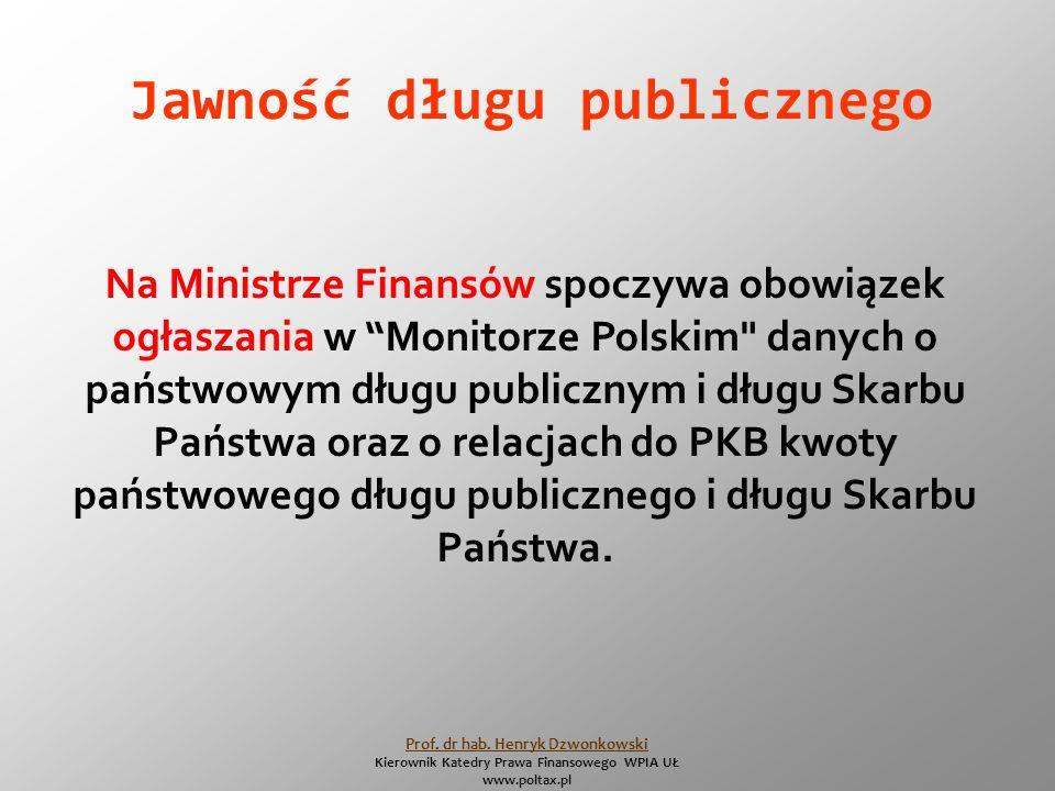 Jawność długu publicznego Na Ministrze Finansów spoczywa obowiązek ogłaszania w Monitorze Polskim danych o państwowym długu publicznym i długu Skarbu Państwa oraz o relacjach do PKB kwoty państwowego długu publicznego i długu Skarbu Państwa.
