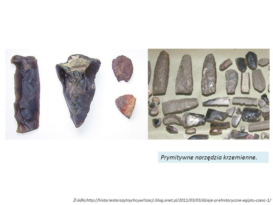 Źródło:http://historiestarozytnychcywilizacji.blog.onet.pl/2011/03/03/dzieje-prehistoryczne-egiptu-czesc-1/ Prymitywne narzędzia krzemienne.