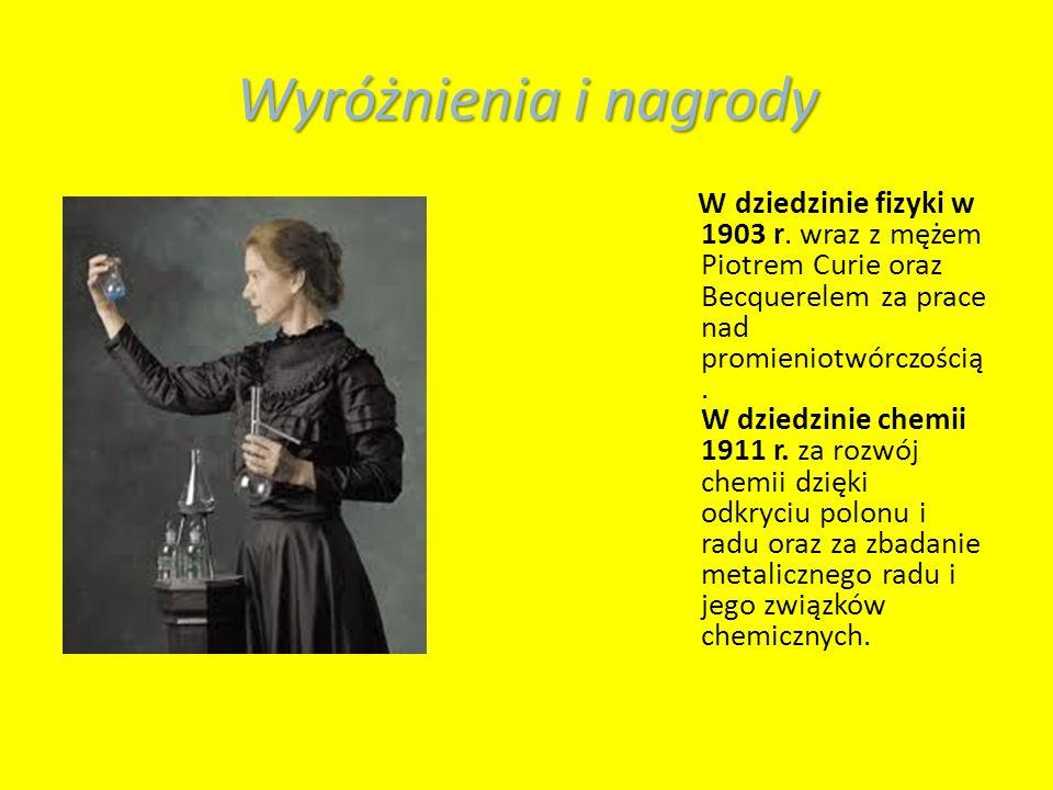 Wyróżnienia i nagrody W dziedzinie fizyki w 1903 r.