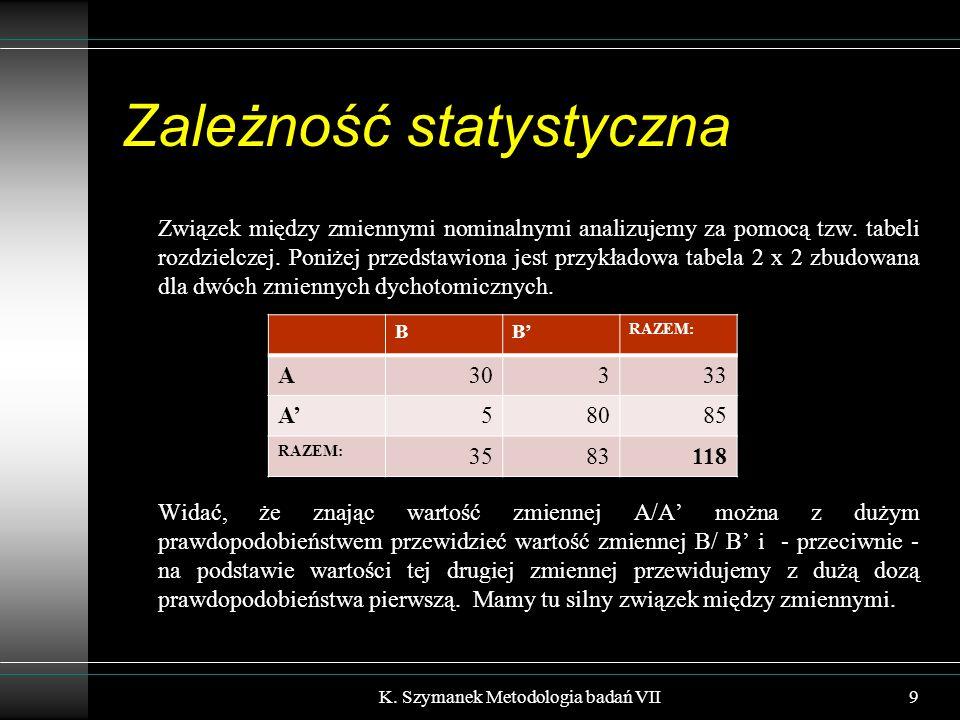 Zależność statystyczna Związek między zmiennymi nominalnymi analizujemy za pomocą tzw.