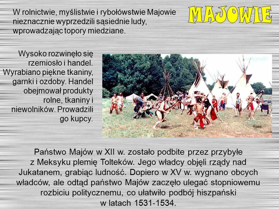W rolnictwie, myślistwie i rybołówstwie Majowie nieznacznie wyprzedzili sąsiednie ludy, wprowadzając topory miedziane.