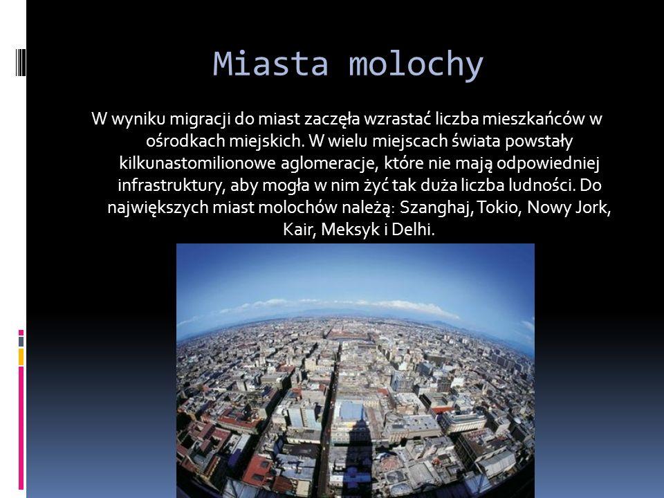 Miasta molochy W wyniku migracji do miast zaczęła wzrastać liczba mieszkańców w ośrodkach miejskich.