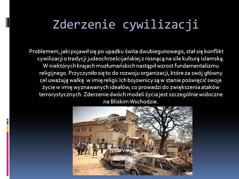 Zderzenie cywilizacji Problemem, jaki pojawił się po upadku świta dwubiegunowego, stał się konflikt cywilizacji o tradycji judeochrześcijańskiej z rosnącą na sile kulturą islamską.