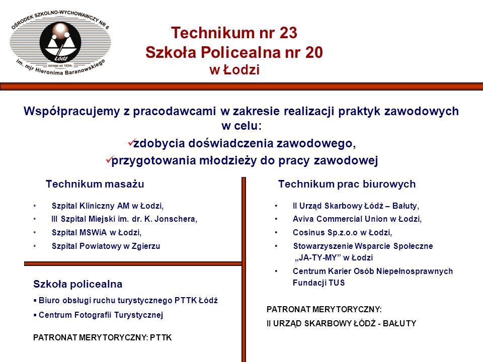 Technikum nr 23 Szkoła Policealna nr 20 w Łodzi Współpracujemy z pracodawcami w zakresie realizacji praktyk zawodowych w celu: zdobycia doświadczenia zawodowego, przygotowania młodzieży do pracy zawodowej Technikum masażu Szpital Kliniczny AM w Łodzi, III Szpital Miejski im.