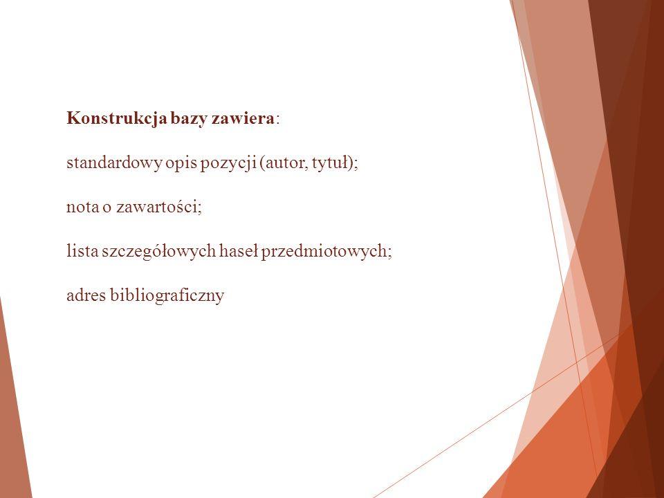 Konstrukcja bazy zawiera: standardowy opis pozycji (autor, tytuł); nota o zawartości; lista szczegółowych haseł przedmiotowych; adres bibliograficzny