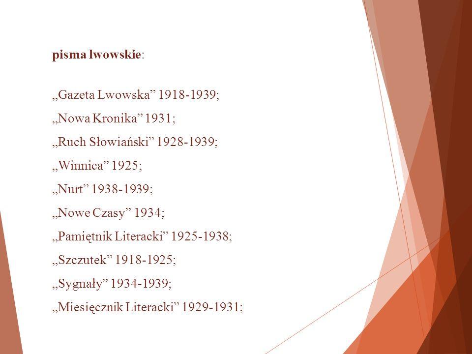 """A także wileńskie i kilka innych: """"Balticoslavica (Wilno) 1933-1938; """"Słowo (Wilno) 1923-1939; """"Czasopismo Literackie (Częstochowa) 1936-1938; """"Życie Kresowe (Baranowicze) 1933; """"Gazeta Olsztyńska (1937)."""