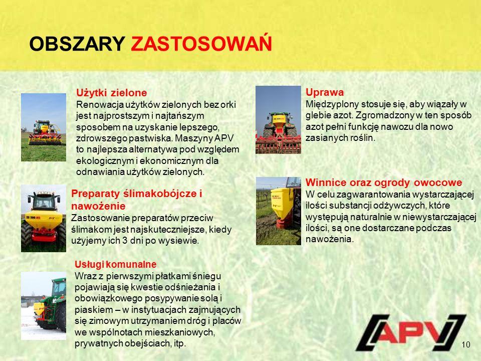 OBSZARY ZASTOSOWAŃ 10 Użytki zielone Renowacja użytków zielonych bez orki jest najprostszym i najtańszym sposobem na uzyskanie lepszego, zdrowszego pastwiska.