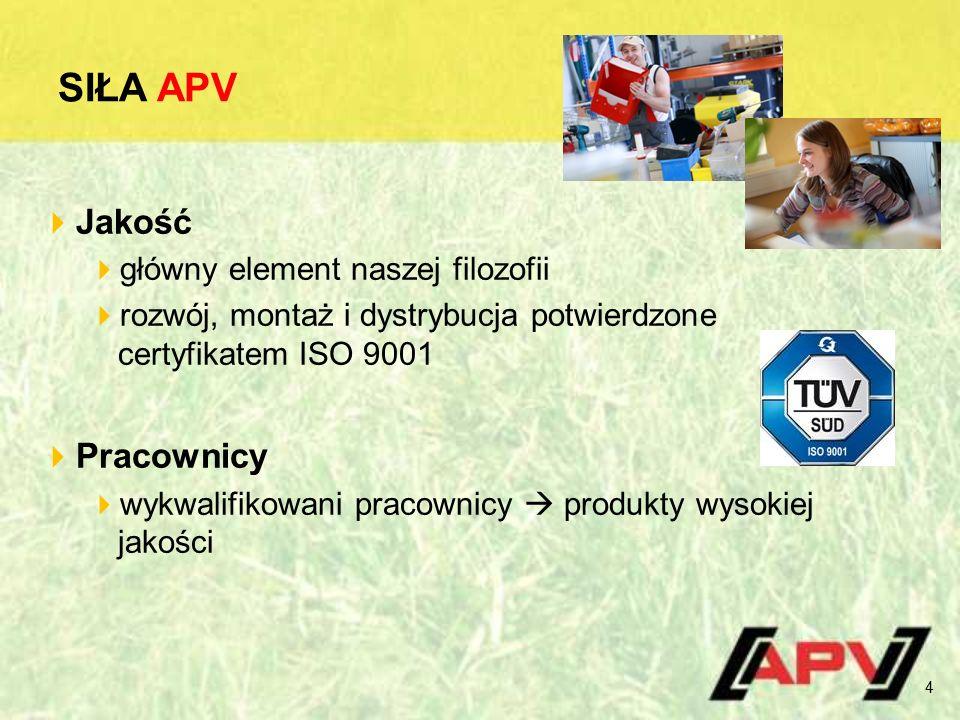 SIŁA APV  Jakość  główny element naszej filozofii  rozwój, montaż i dystrybucja potwierdzone certyfikatem ISO 9001  Pracownicy  wykwalifikowani pracownicy  produkty wysokiej jakości 4