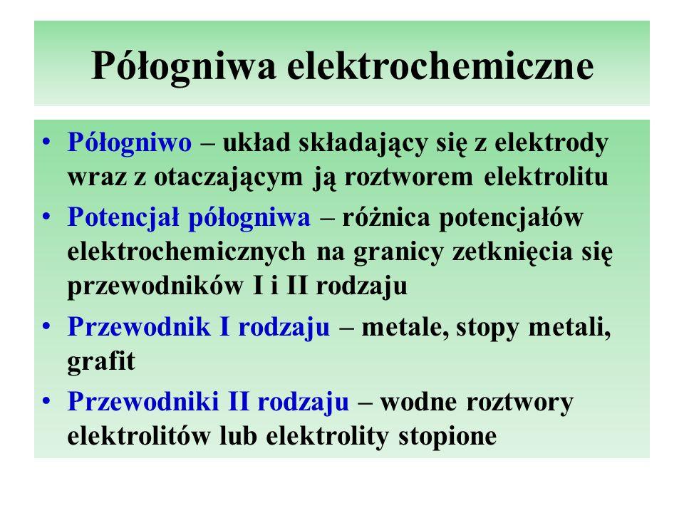 Standardowy potencjał półogniwa, anoda, katoda Standardowy potencjał półogniwa (E o ) – siła elektromotoryczna ogniwa utworzonego ze standardowego półogniwa wodorowego i półogniwa badanego, w którym stężenia jonów wynoszą 1mol/dm 3 Anoda (-) – elektroda, na której zachodzi proces utlenienia: Red 1  Utl 1 + ze - Katoda (+) – elektroda, na której zachodzi proces redukcji: Utl 2 + ze -  Red 2