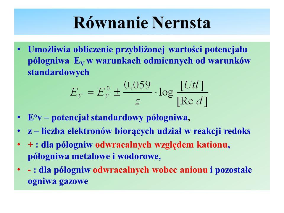 Równanie Nernsta - cd [Utl] – stężenie molowe formy utlenionej [Red] – stężenie molowe formy zredukowanej Jeżeli [Utl] = [Red], to E V = E o V Dla elektrody metalowej [Red] = 1, [Utl] = [Me z+ ], równanie przyjmuje postać: