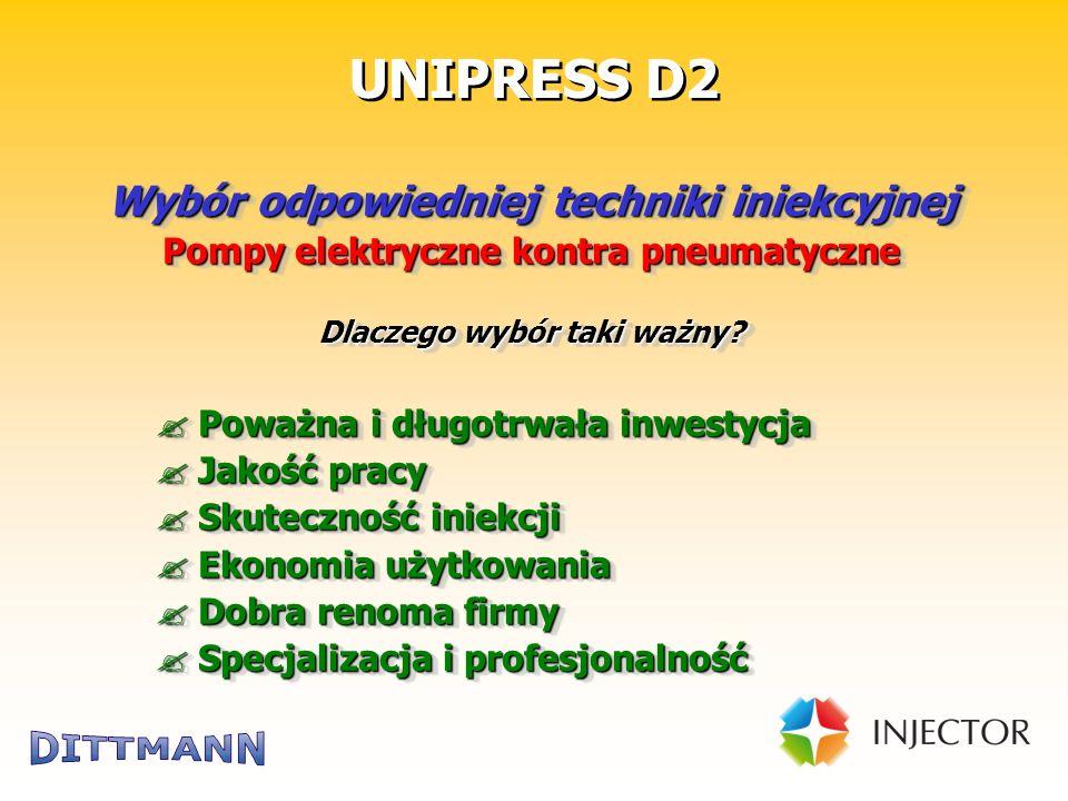 """Technik für die Bausanierung UNIPRESS D2 Wybór odpowiedniej techniki iniekcyjnej Elektryczne pompy membranowe """"airless ."""