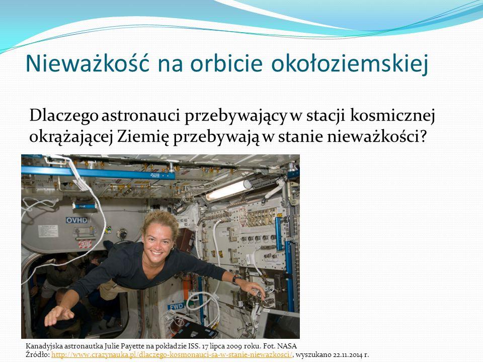Nieważkość na orbicie okołoziemskiej Dlaczego astronauci przebywający w stacji kosmicznej okrążającej Ziemię przebywają w stanie nieważkości.