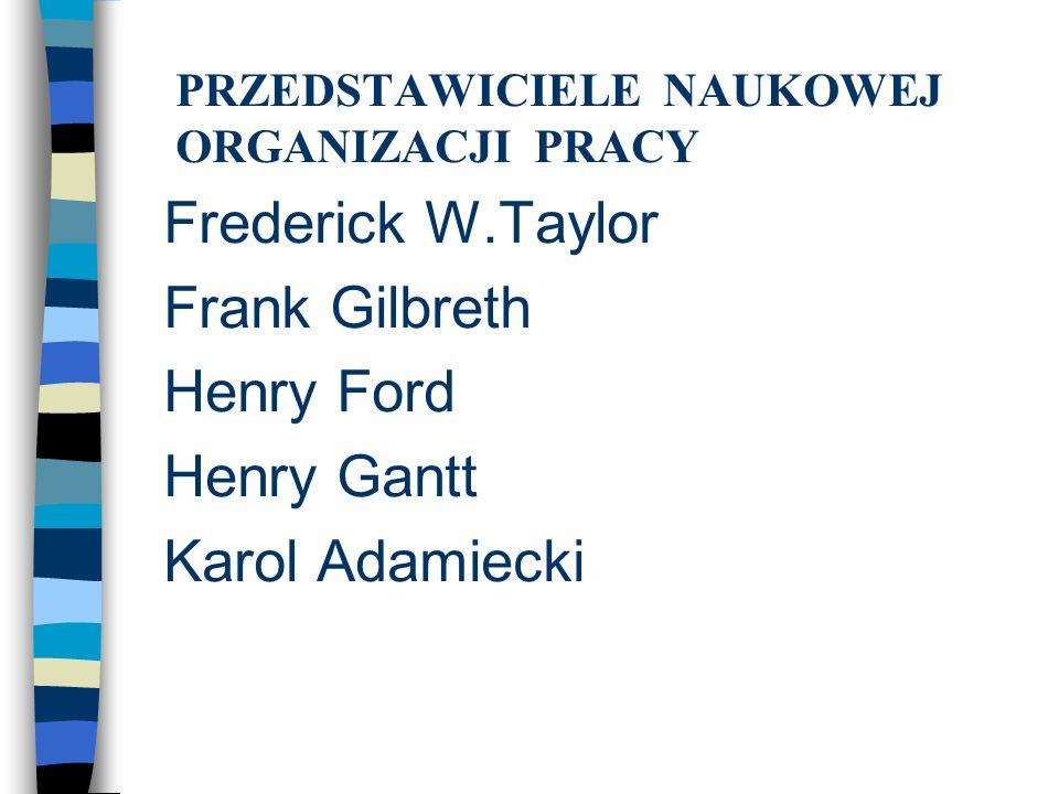PRZEDSTAWICIELE NAUKOWEJ ORGANIZACJI PRACY Frederick W.Taylor Frank Gilbreth Henry Ford Henry Gantt Karol Adamiecki