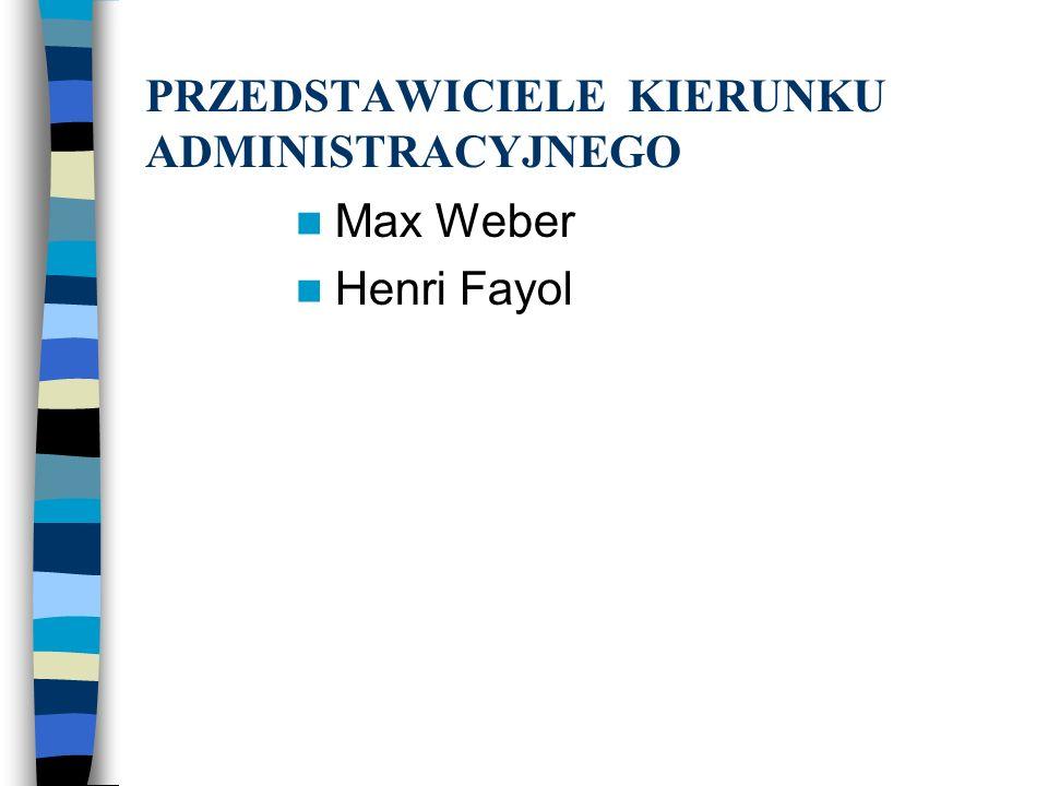PRZEDSTAWICIELE KIERUNKU ADMINISTRACYJNEGO Max Weber Henri Fayol