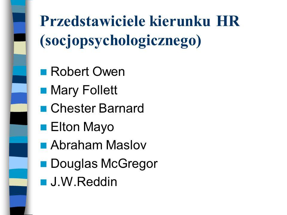 Przedstawiciele kierunku HR (socjopsychologicznego) Robert Owen Mary Follett Chester Barnard Elton Mayo Abraham Maslov Douglas McGregor J.W.Reddin