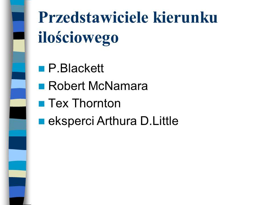 Przedstawiciele kierunku ilościowego P.Blackett Robert McNamara Tex Thornton eksperci Arthura D.Little