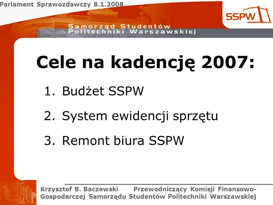 Parlament Sprawozdawczy 8.1.2008 Krzysztof B. Baczewski Przewodniczący Komisji Finansowo- Gospodarczej Samorządu Studentów Politechniki Warszawskiej C