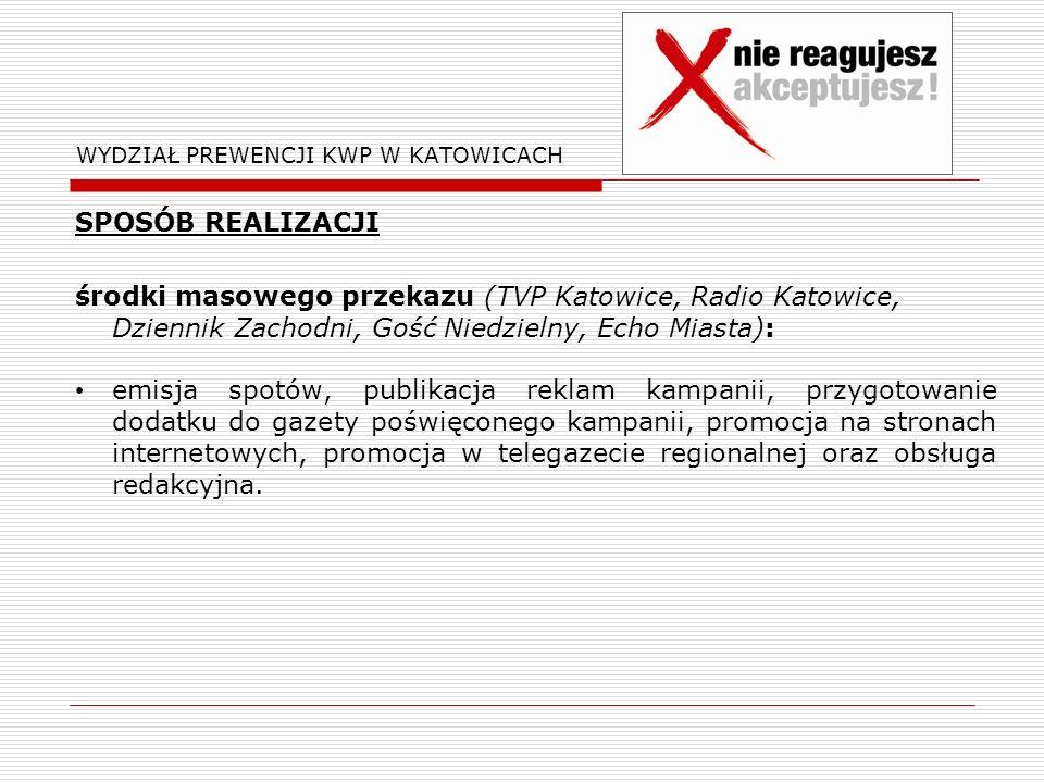WYDZIAŁ PREWENCJI KWP W KATOWICACH SPOSÓB REALIZACJI środki masowego przekazu (TVP Katowice, Radio Katowice, Dziennik Zachodni, Gość Niedzielny, Echo Miasta): emisja spotów, publikacja reklam kampanii, przygotowanie dodatku do gazety poświęconego kampanii, promocja na stronach internetowych, promocja w telegazecie regionalnej oraz obsługa redakcyjna.