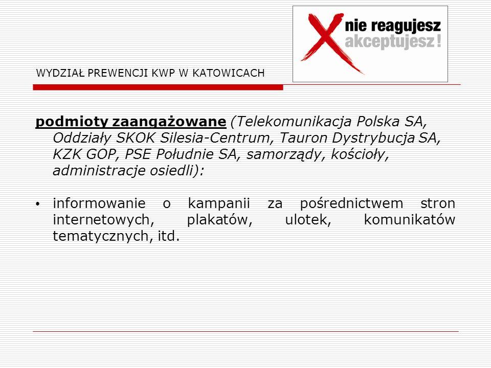 WYDZIAŁ PREWENCJI KWP W KATOWICACH podmioty zaangażowane (Telekomunikacja Polska SA, Oddziały SKOK Silesia-Centrum, Tauron Dystrybucja SA, KZK GOP, PSE Południe SA, samorządy, kościoły, administracje osiedli): informowanie o kampanii za pośrednictwem stron internetowych, plakatów, ulotek, komunikatów tematycznych, itd.