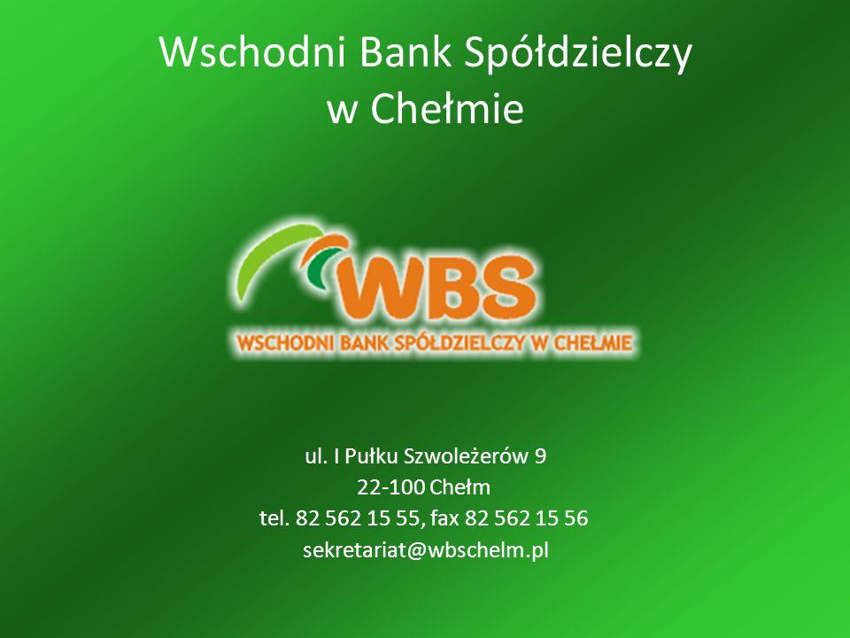 Wschodni Bank Spółdzielczy w Chełmie ul. I Pułku Szwoleżerów 9 22-100 Chełm tel.