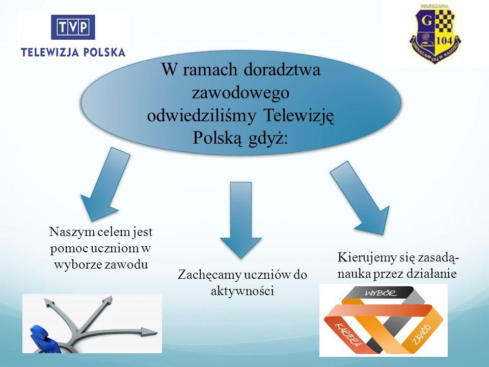 Zachęcamy uczniów do aktywności Naszym celem jest pomoc uczniom w wyborze zawodu Kierujemy się zasadą- nauka przez działanie W ramach doradztwa zawodowego odwiedziliśmy Telewizję Polską gdyż: