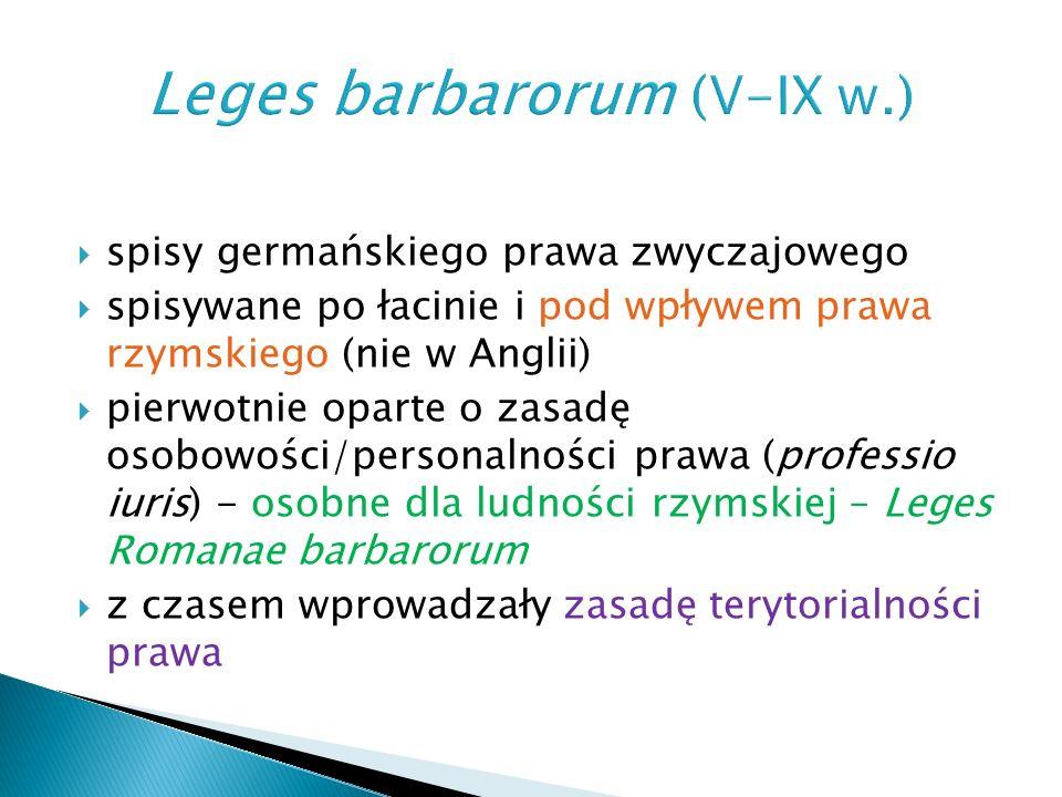  Wizygoci: ◦ Kodeks Euryka/Codex Euricianus (II poł.