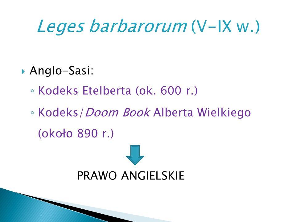  Leges barbarorum  Leges Romanae barbarorum  kanony synodalne (zatwierdzone przez króla)  kapitularze królewskie (capitularia)
