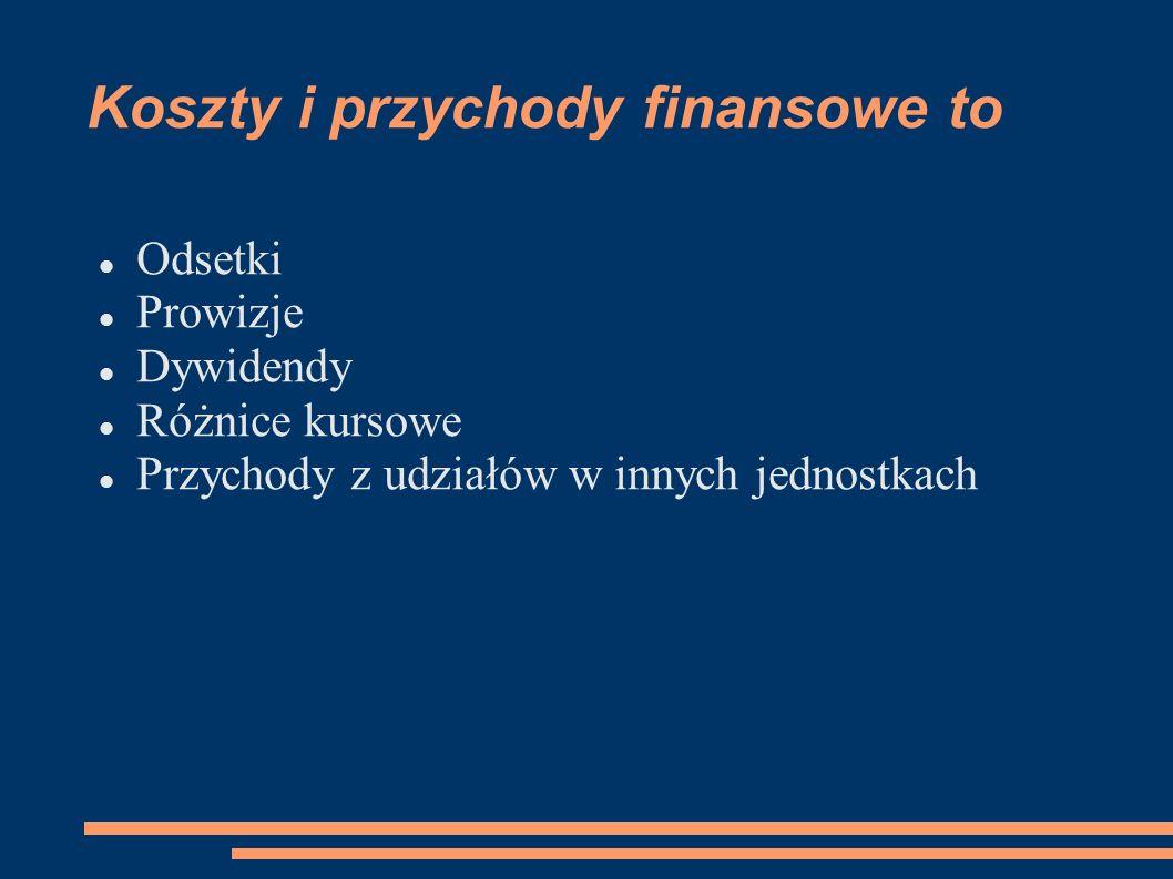 Koszty i przychody finansowe to Odsetki Prowizje Dywidendy Różnice kursowe Przychody z udziałów w innych jednostkach