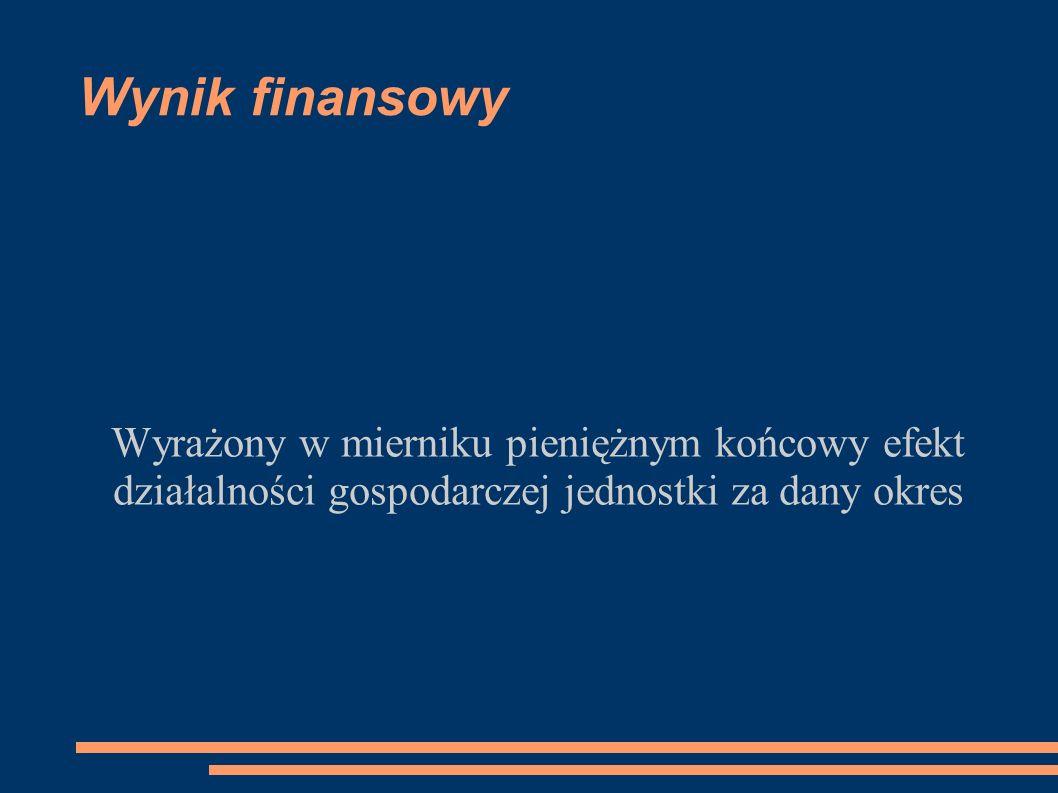 Wynik finansowy Wyrażony w mierniku pieniężnym końcowy efekt działalności gospodarczej jednostki za dany okres