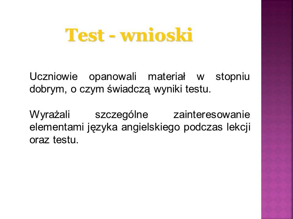 Test - wnioski Uczniowie opanowali materiał w stopniu dobrym, o czym świadczą wyniki testu. Wyrażali szczególne zainteresowanie elementami języka angi