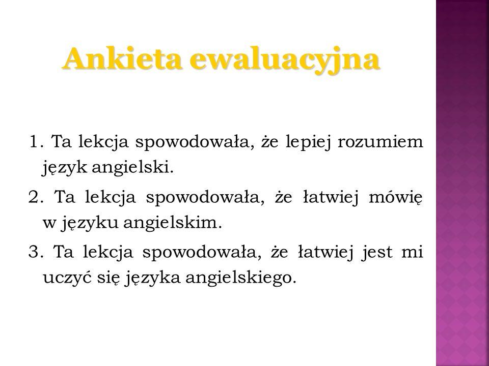 Ankieta ewaluacyjna 1.Ta lekcja spowodowała, że lepiej rozumiem język angielski.